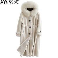 AYUNSUE 2018 Winter Coat Women Sheep Shearing Fur Coats Long Warm Real Wool Jacket Natural Fox Fur Collar Hooded Overcoat YQ1949