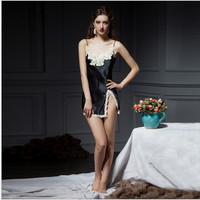 New design top quality silk nightgown sexy sleep dress with lace embroidery wellmade for women exclusive custom