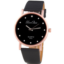 2017 Simple Fashion Tasteful Style Women s Diamond Case Leatheroid Band Round Dial Quartz Wrist Watch