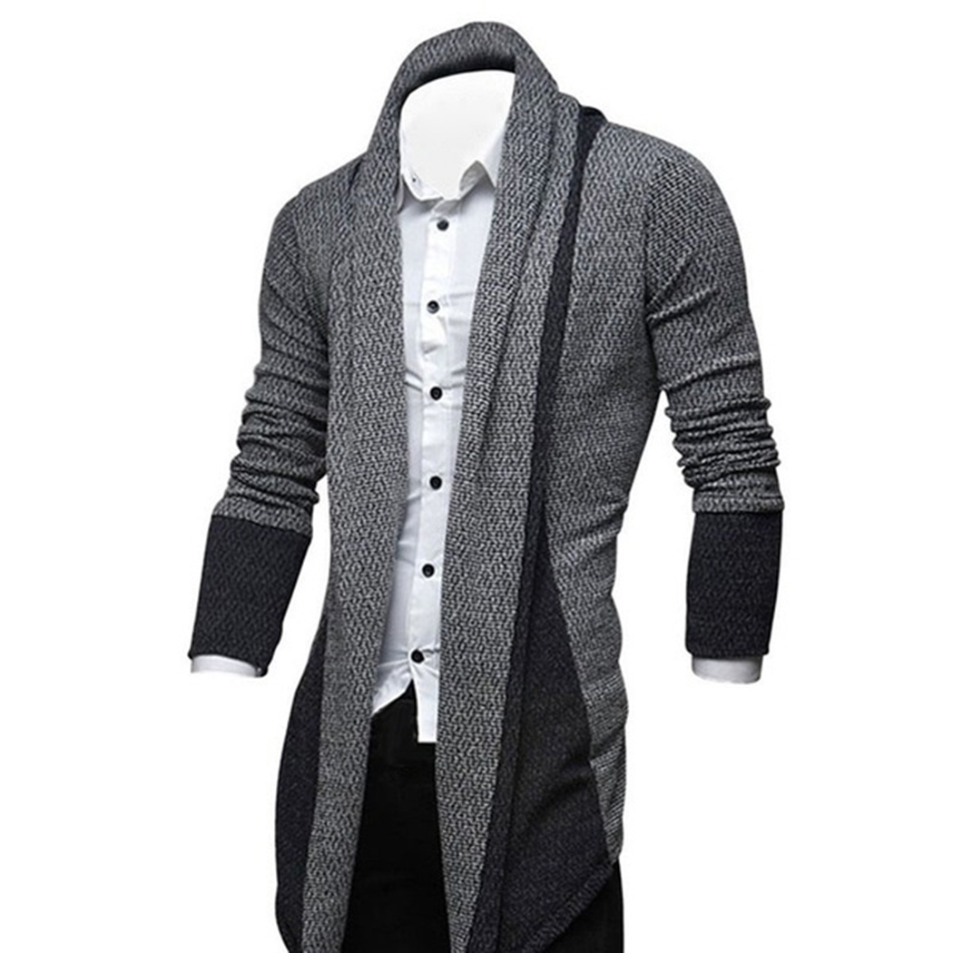 Winter Patchwork Coats Men Knitted Cardigan Sweater Casual Slim Jacket Plus Size Male Cardigans Pull Homme Autumn A4