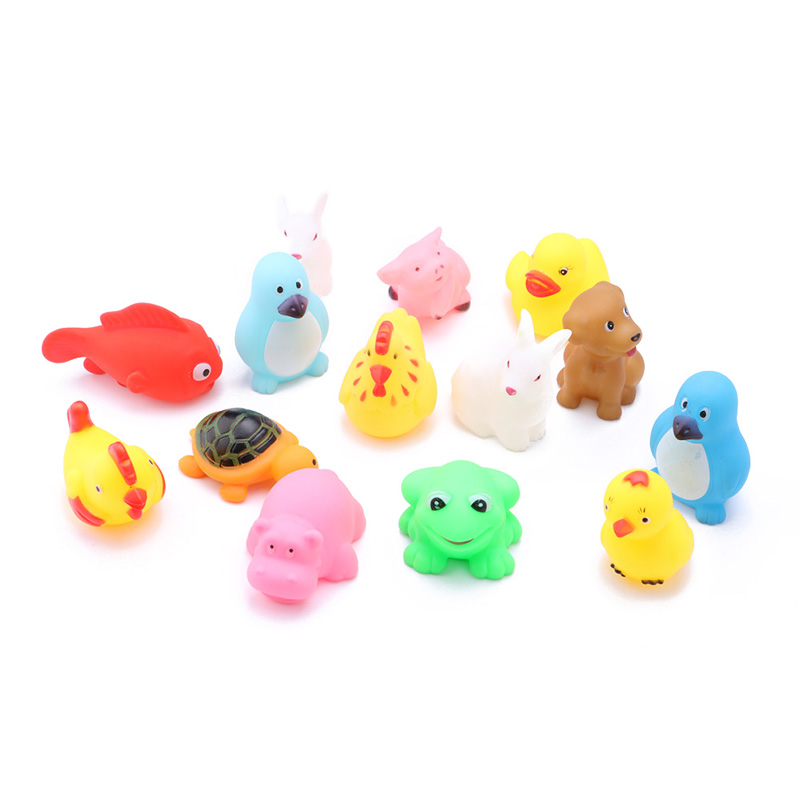 New Multiple Animals 13 PCs lovely Rubber Animals With Sound Toys ...