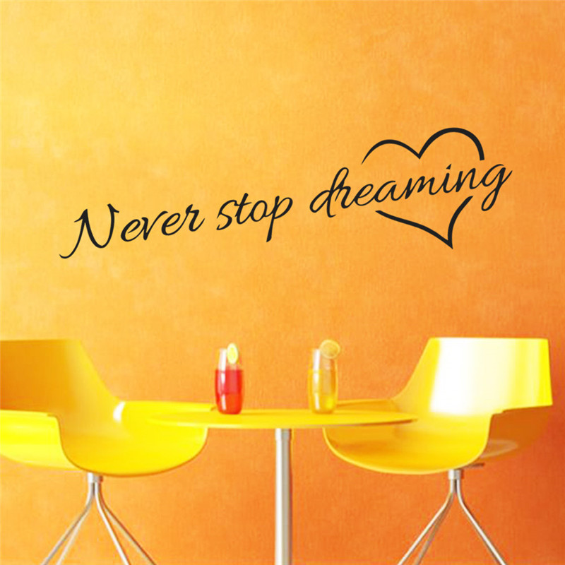 Never stop dreaming wall stickers bedroom living room quarto ...
