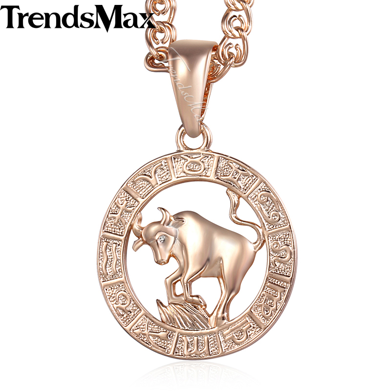 Taurus 12 Zodiac Sign Constellation Womens Necklace 585 Rose Gold Color Pendant Necklace For Women Men Gift Jewelry KGP179