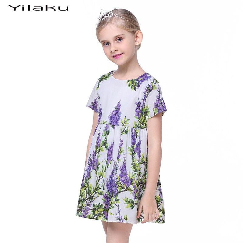Yilaku filles robes imprimé Floral mignon enfant en bas âge filles à manches courtes robe enfants Vestido fille vêtements Costume pour enfants CA317