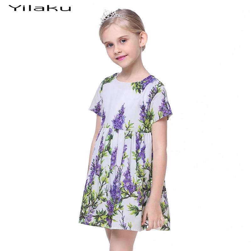 Floral Print Cute Toddler Girls Dress 2017 Summer Girls Cothes z - Ubrania dziecięce - Zdjęcie 1