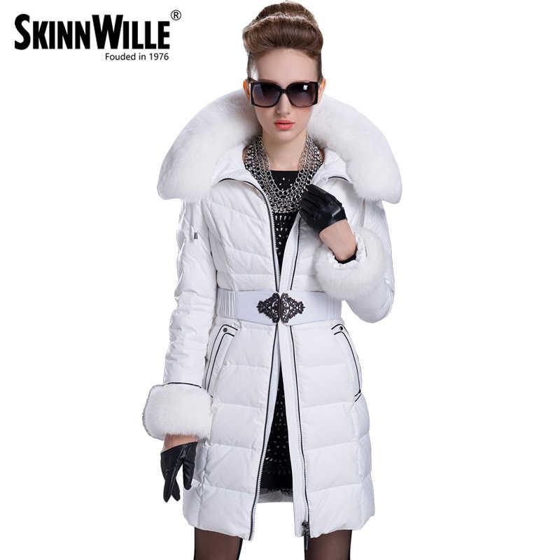 SKINNWILLE 2018 зимний пуховик средняя длина натуральный мех новый бренд теплое классическое зимнее пальто