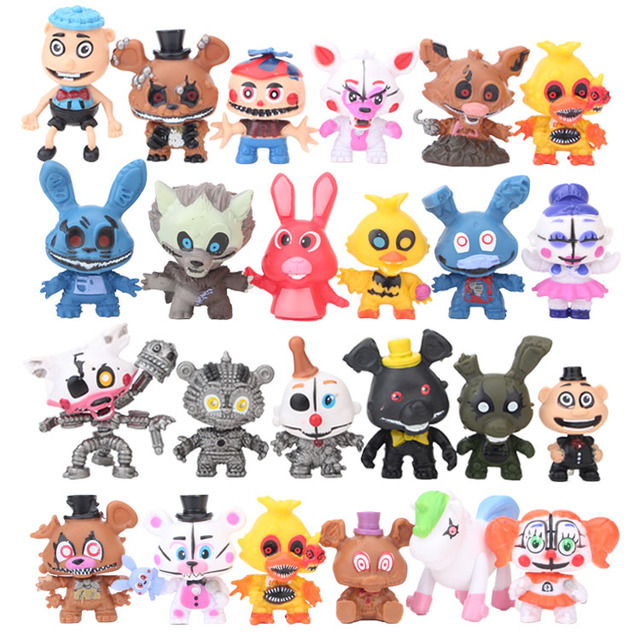 24pcs/set Five Nights At Freddy's Circus Baby Ennard Freddy Bare Bonnie Foxy Chica Bear PVC Action Figure Model Toy Dolls