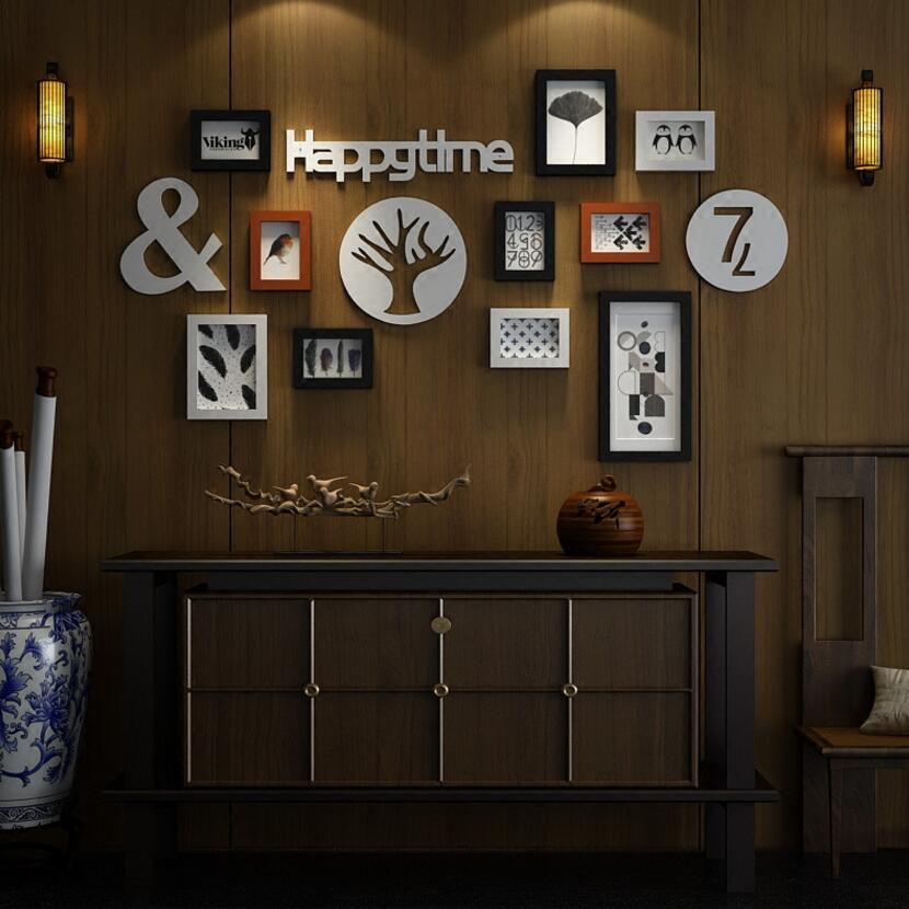 Photo wall creative combination solid wood frame wall decoration living room restaurant simple modern nostalgic photo wall D20