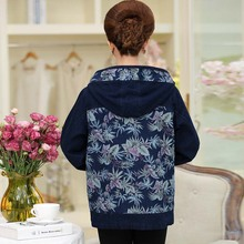 Plus size Winter New arrival The new printed cotton denim jacket in middle-aged women's clothing hooded casual jackets   PBT088W