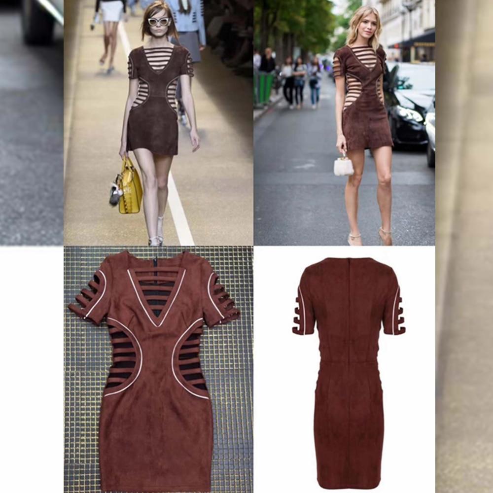 Sexy Bonne Mode Robe Suede Cuir Tissu Party 2018 De Creux Courtes À Celebrity Out Manches Moulante Festa Synthétique Qualité En Femmes 66qpgxr