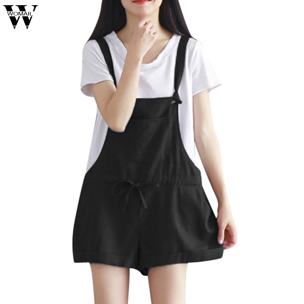 Womail Bodysuit Women Summer Fashion Sleeveless Dungarees Loose Lace Up Cotton Shorts Playsuit Jumpsuit Trousers NEW Dropship M7