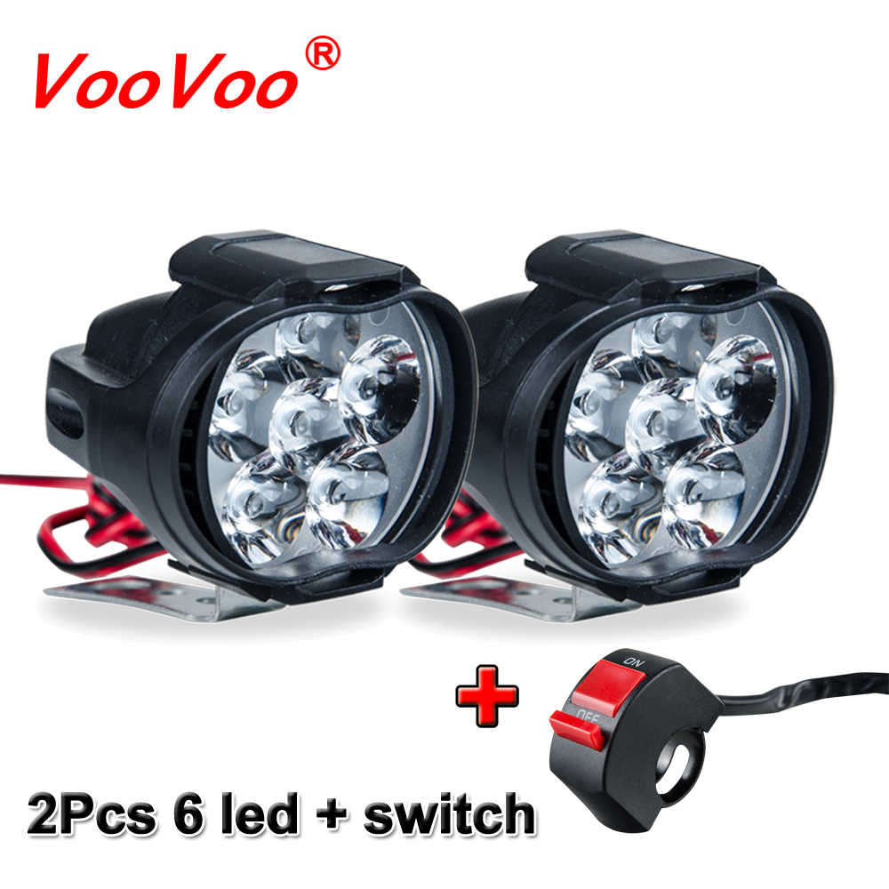 VooVoo 2Pcs 6 LED Motorcycle Light Headlight Assembly 10W 1000LM+Switch Universal Scooter Fog Spotlight 6000K White Car DRL Lamp