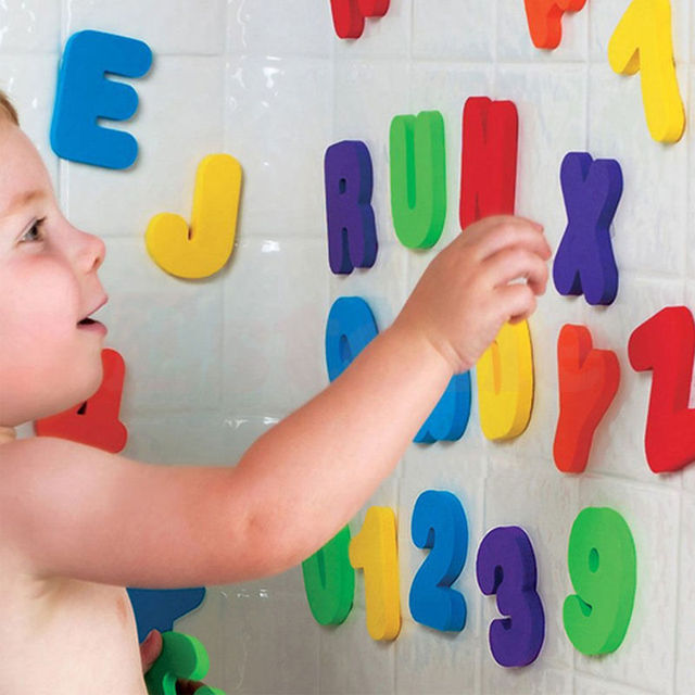 36pcs Baby Kids Children Floating Bathroom Bath tub Toys Foam Letters Numbers Wall Stickers