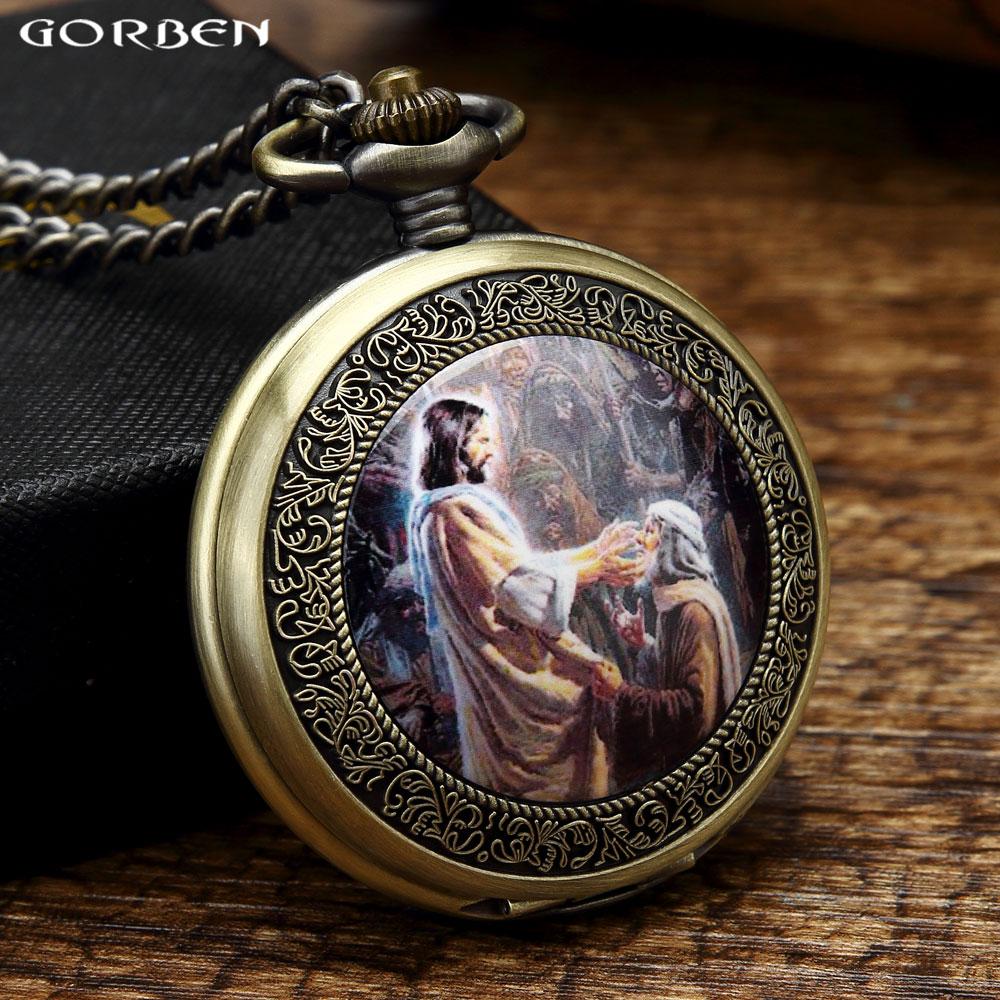 Ретро Божий Син Ісус поширив Євангельський портрет Кишенькові годинники чоловічі класичні релігійні християнські католицизм Віра Годинники GO49