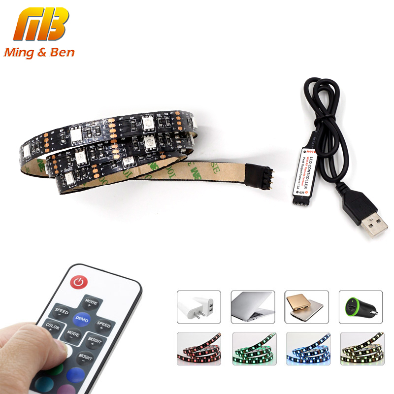 [MingBen] USB LED Strip RGB SMD5050 TV PC Background Lighting Kit Cuttable With 17Key RF Controller 30leds/m 1-5 Meters/Set DC5V