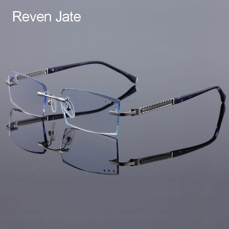 2b83661918 Reven Jate 58130 Pure Titanium Rimless Diamond Cutting Man Glasses Frame  Optical Prescription Eyeglasses Men Eyewear Fashion