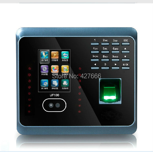 Facial Fingerprint Employee Time Attendance  ZK UF100 TCP/IP Face Time Attendance System With Free Software biometric face and fingerprint access controller tcp ip zk multibio700 facial time attendance and door security control system