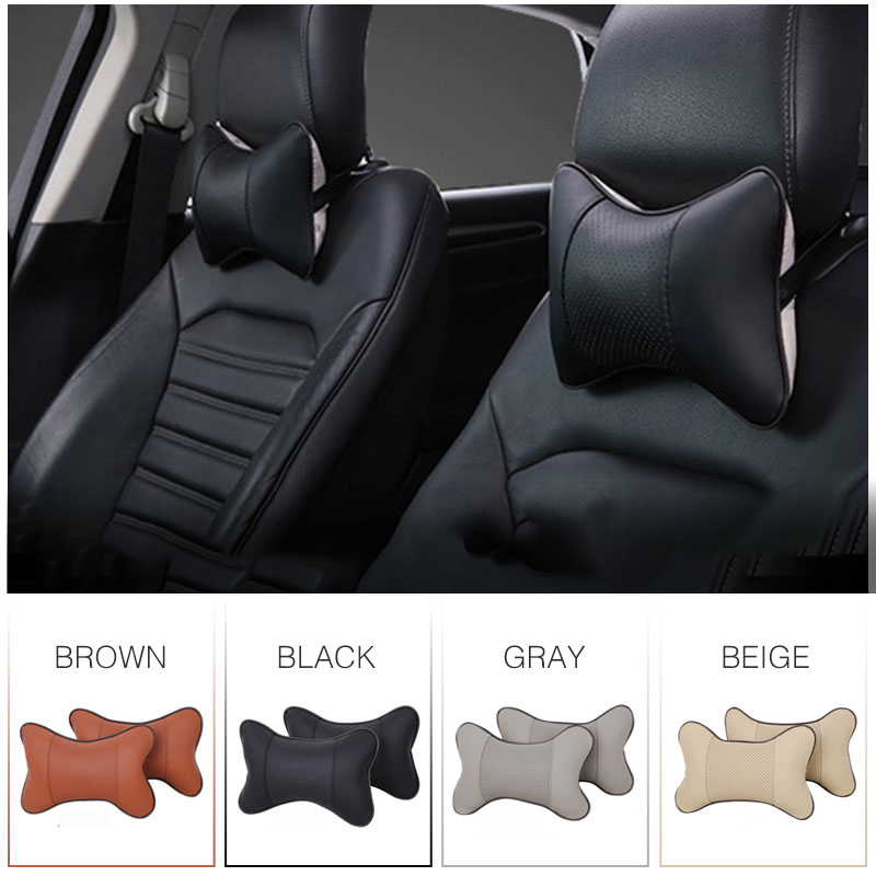 2pcs/set Car Headrest Pillow Neck Automotive Leather Pillow Breathable Car Headrest Supplies Seat Neck Safety Pillow Car-styling