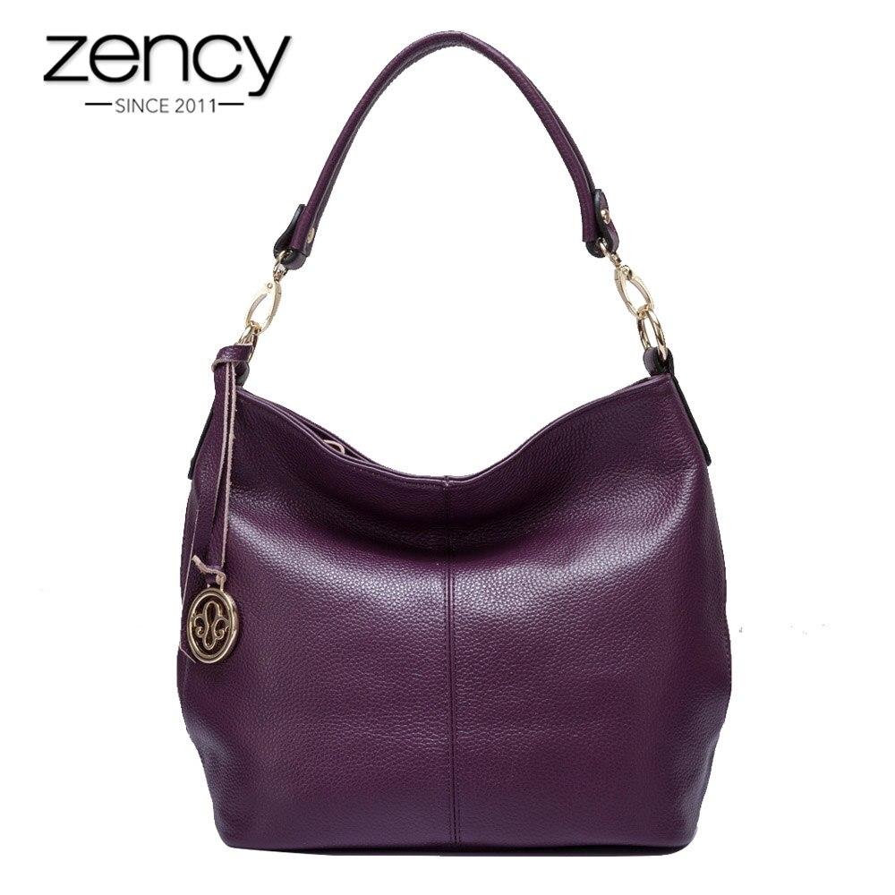 Zency Luxury Purple Women Shoulder Bag 100 Genuine Leather Tote Handbag Black Fashion Lady Crossbody Messenger