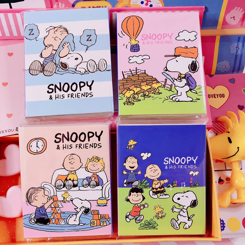 SIXONE 20*4 Pages Rogue Dog Cartoon Four-fold Office Sticky Note Paper Cute Student Kawaii Stationery Notebook Memo Pad