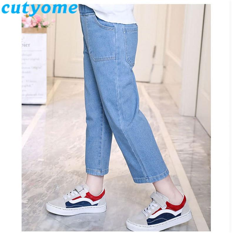 Light Blue Teenager Girls Wide Leg Jeans 2019 Spring Autumn Children Casual Solid Streetwear Denim Pants Kids Trousers 7/8 12 13 3