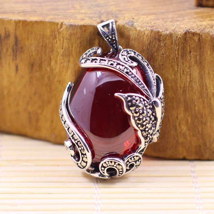 silver goods] S925 accessories wholesale womens butterfly fine inlaid garnet red beautiful personality Pendantsilver goods] S925 accessories wholesale womens butterfly fine inlaid garnet red beautiful personality Pendant
