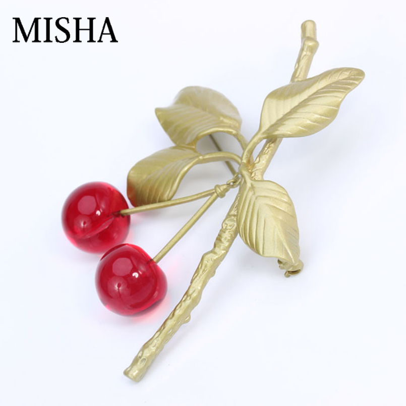 MISHA Brand Brooches For Women Fine Brooch Jewelry Big Gold Crystal cherry shape Brooch Pins Elegant High Quality Gift 2231 chic rhinestone christmas deer shape brooch jewelry for women