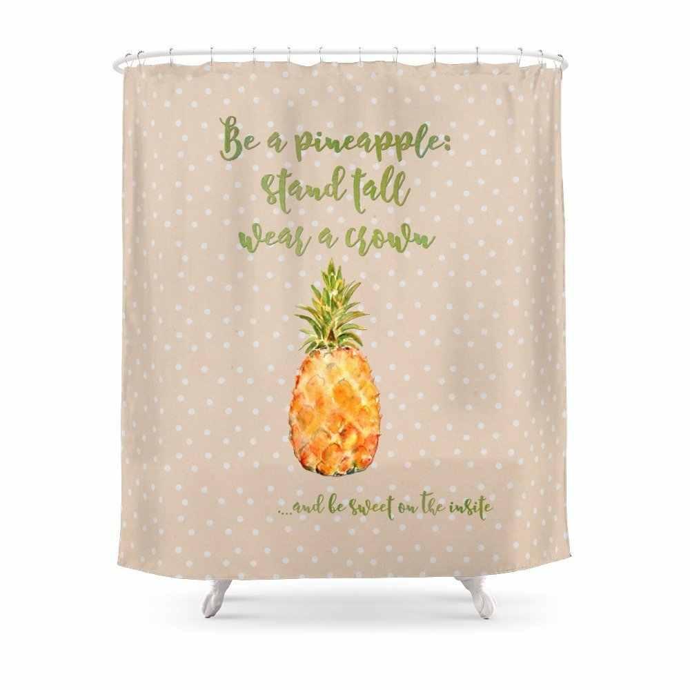 Ananas stanąć na wysokości nosić korona słodki zasłona prysznicowa wodoodporna tkanina poliestrowa łazienka Decor zasłona prysznicowa z nadrukiem