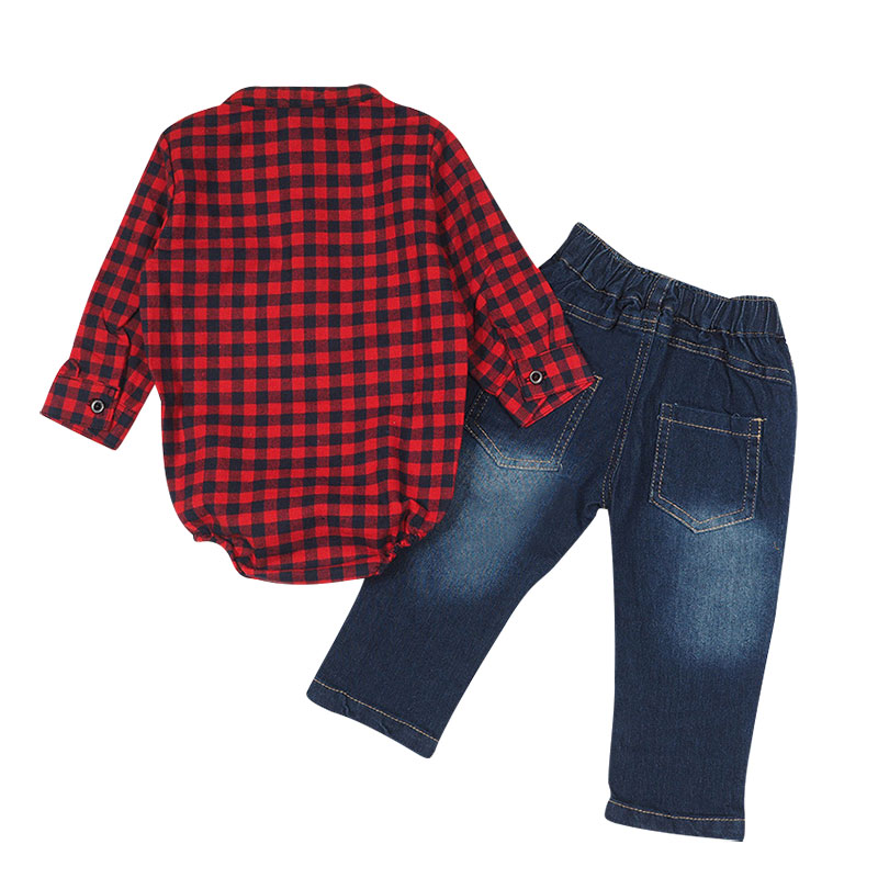 0 24M Newborn Baby Boys Clothes Plaid Casual Shirt Jeans Infant Toddler Kids Clothing Set Baby Bodysuit Stripped in Clothing Sets from Mother Kids