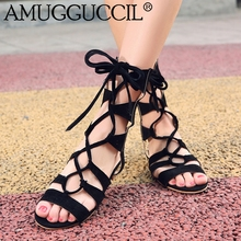 2017 New Plus Big Size 33-43 Black Yellow Beige Lace Up Fashion Sexy Casual Girls Lady Female Summer Women Flats Sandals L800