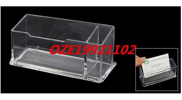 1PCS Office Desk Clear Hard Plastic Business Card Holder