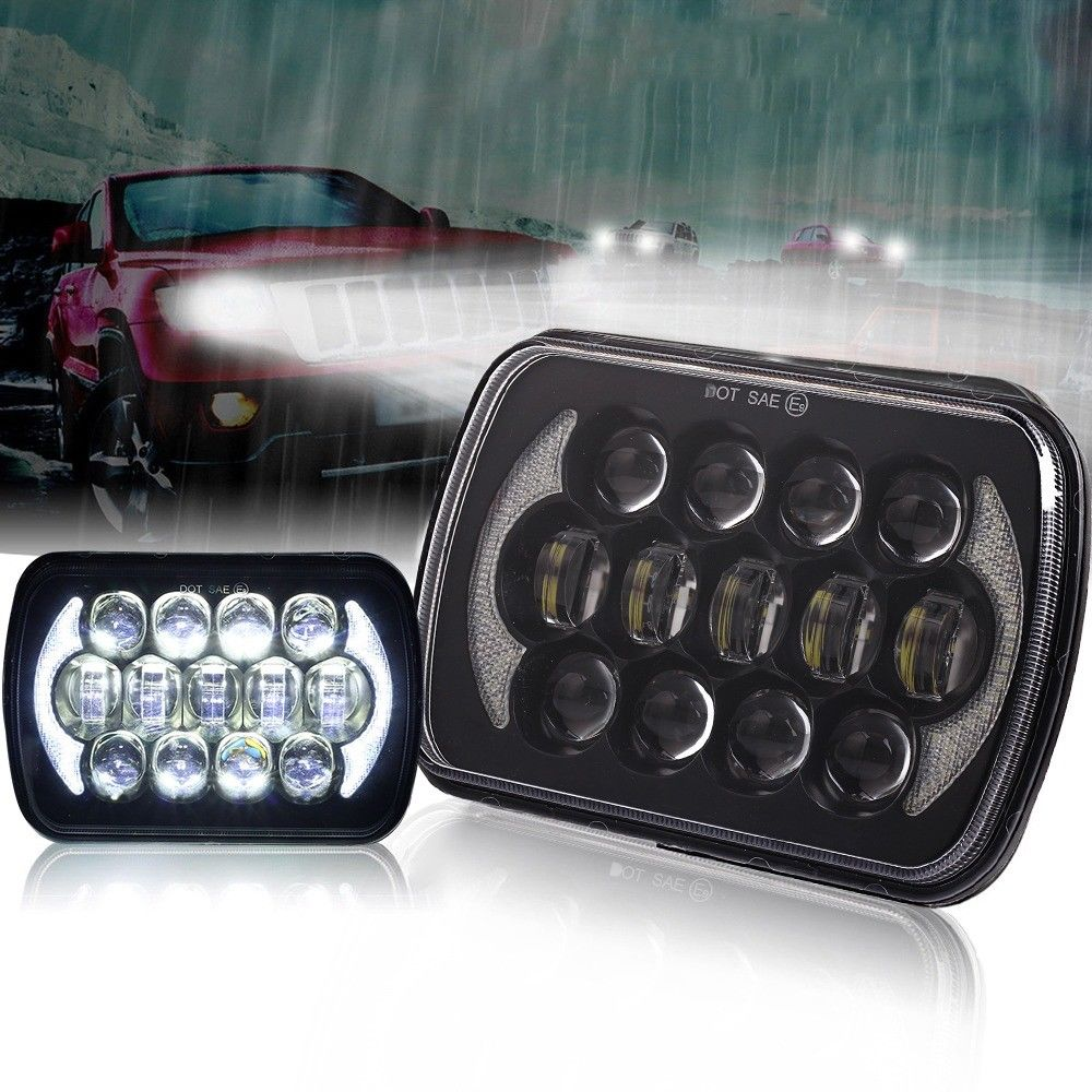 105W 5X7 7X6 inch Rectangular Sealed Beam LED Headlight With DRL LED for H6014 H6052 H6054 H6052 LED Headlight 1 Pair