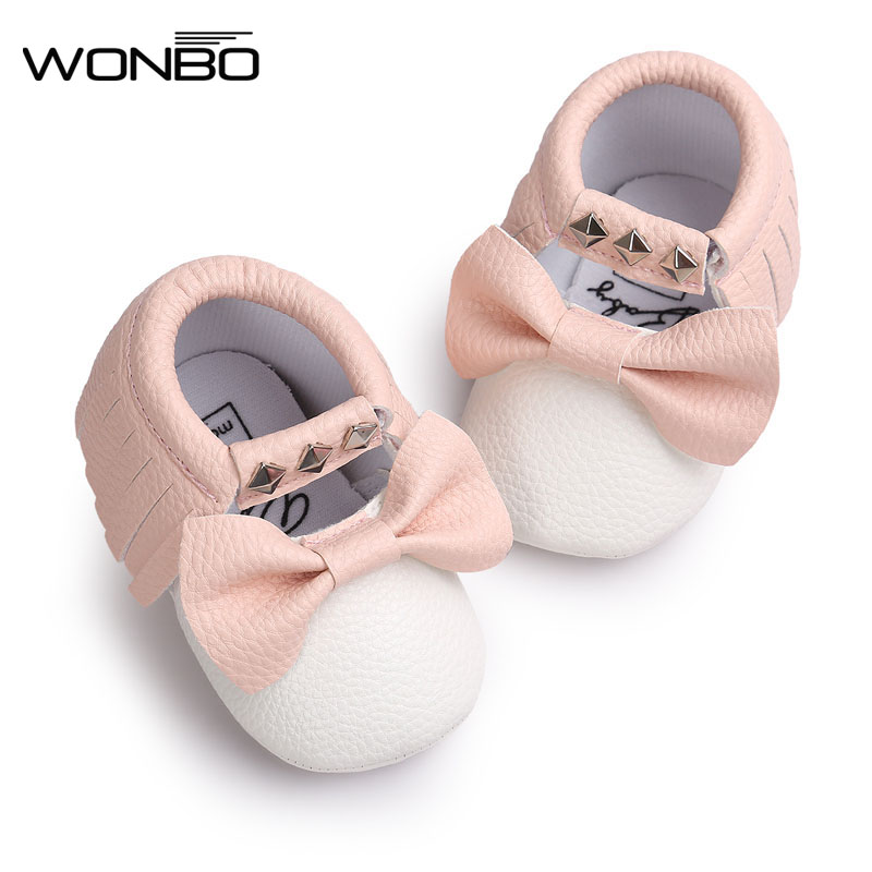 eaf6b8745741d US $2.82 15% OFF|New pu Leather Baby Moccasins Rivet striped Mary janes  Baby girls princess dress Shoes Newborn first walker Infant baby Shoes-in  ...