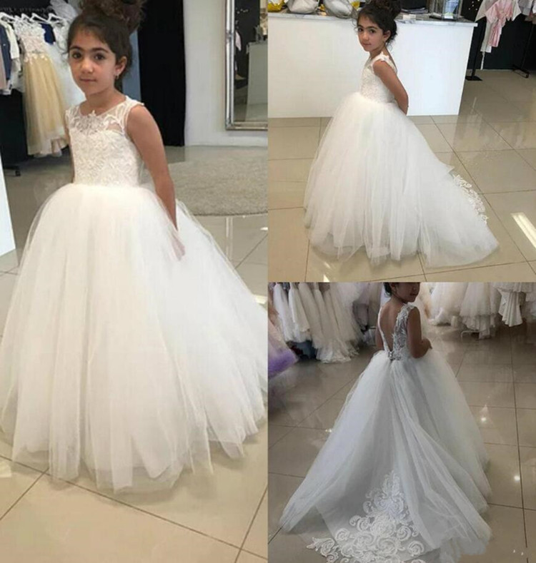 White Princess   Dress   Classic   Flower     Girl     Dress   with Appliques Lace for Wedding Holy First Communion Gowns Backless Custom Made