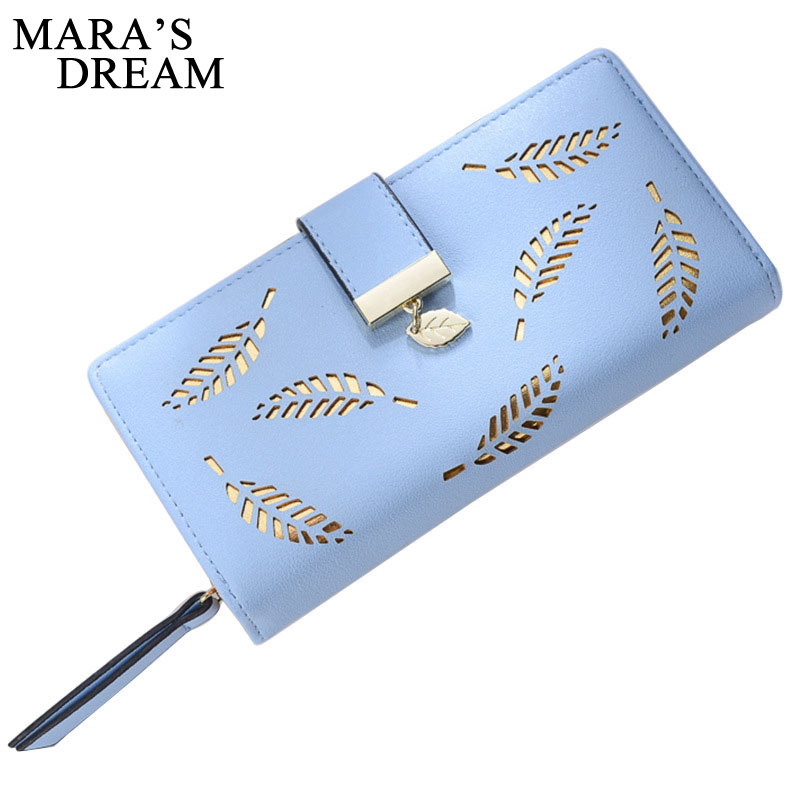 Mara's Dream 2019 Brand Leaves Hollow Women Wallet Soft PU Leather Women's Clutch Wallet Female Designer Wallets Coin Card Purse(China)