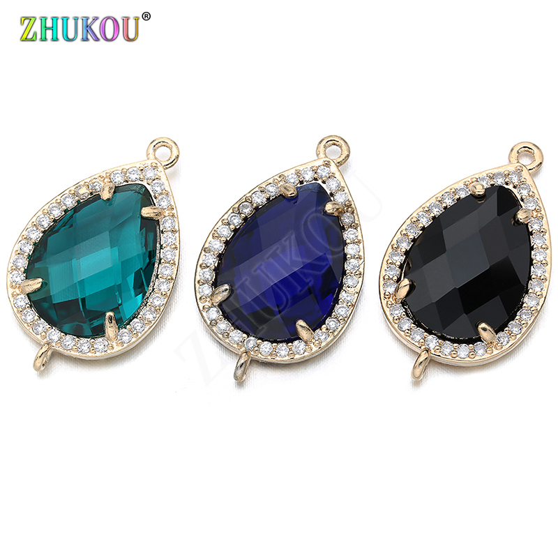 14*23mm High Quality Brass Cubic Zirconia Water-drops Shape  Connectors DIY Jewelry Findings Making, Hole:1.0mm Model: VS297