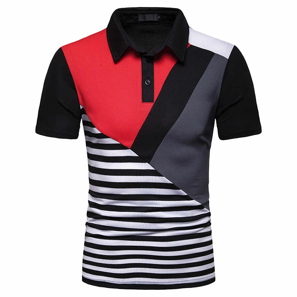2019 Brand Men's Polo Shirt Short Sleeve Summer Slim Fit Splicing Stripe Blakc and Red Men Polo T-Shirts Clothing Blouse