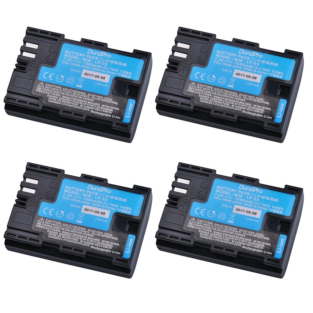4pcs LP-E6 LP-E6N LP E6 Camera Battery Made With Japan Cells For Canon LP-E6 EOS 5DS 5D Mark II Mark III 6D 7D 60D 60Da 70D 80D