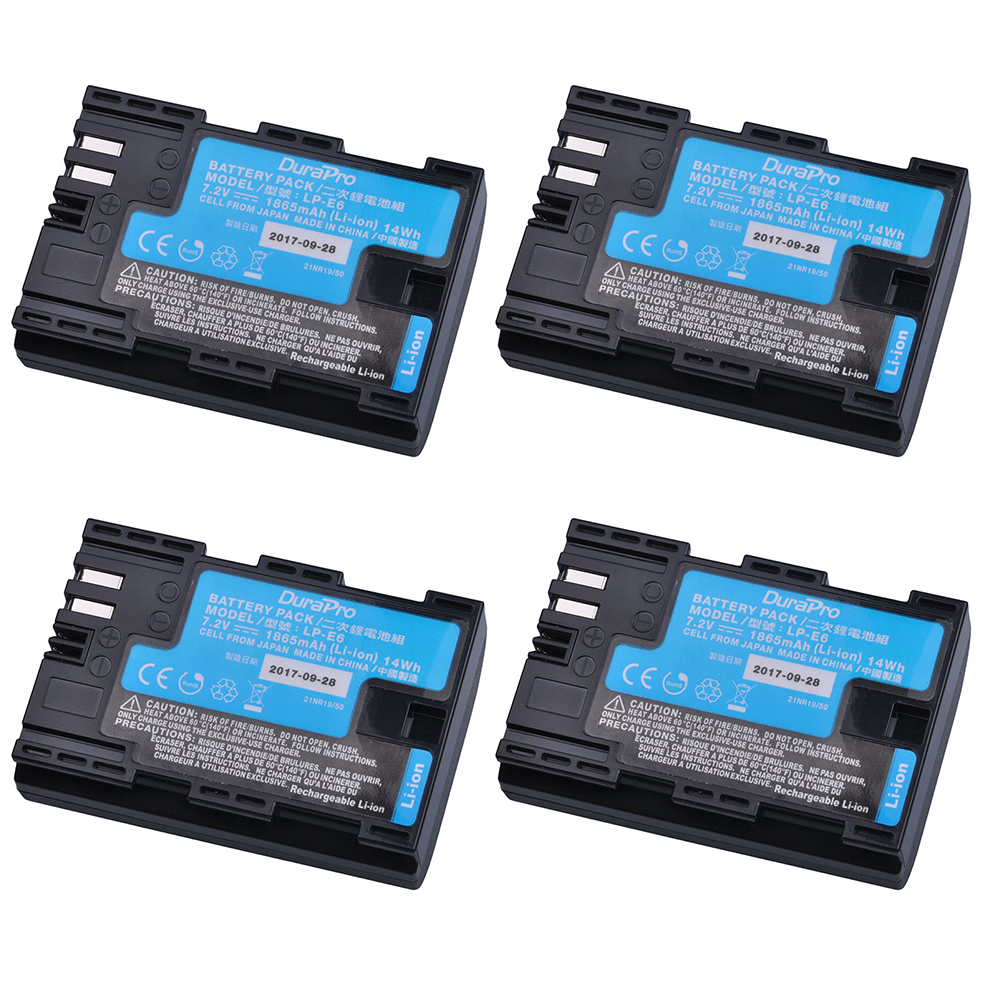 4pcs LP-E6 LP-E6N LP E6 Camera Battery Made With Japan Cells for Canon LP-E6 EOS 5DS 5D Mark II Mark III 6D 7D 60D 60Da 70D 80D new lp e6 2650mah 7 2v digital replacement camera battery for canon eos 5d mark ii 2 iii 3 6d 7d 60d 60da 70d 80d dslr eos 5ds
