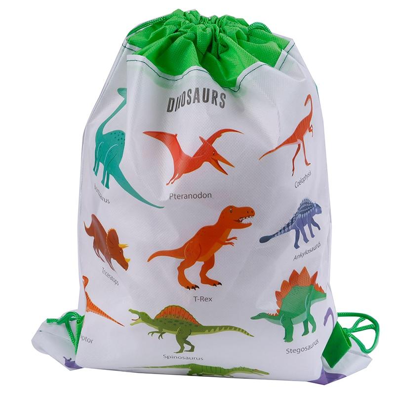 5PCS Cute Cartoon Dinosaur Drawstring Bags Kids Drawstring Backpack Baby Clothes Clothings Children Organizer Pouch Laundry Bag