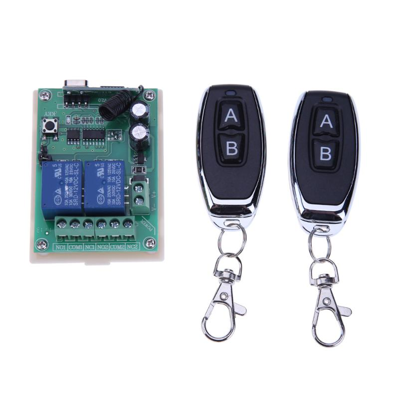 12V/24V 2 Channel Relay Wireless Remote Control Switch 433Mhz + 2pcs Two Keys Remote Controls for Garage Door Lighting Curtains 2pcs universal 2 channel wireless garage