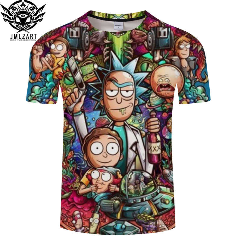 Rick en Morty Door Jm2 Art 3D t-shirt Mannen tshirt Zomer Anime T-Shirt Korte Mouw Tees O-hals Tops Drop schip ZOOTOP BEER