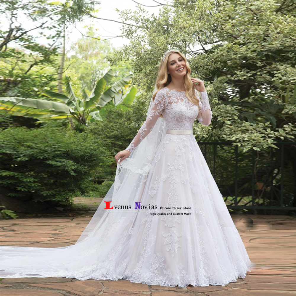 Robe de Mariee Fashion White Lace Bride Dresses Wedding Gowns Vintage Long Sleeve Wedding Dress 2019