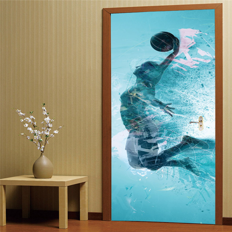 Ethereal basketball player door wall sticker Home Decoration door sticker wall mural Three-dimensional creative decals decor