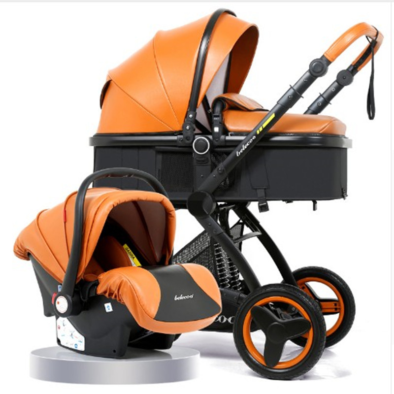 <font><b>Baby</b></font> Stroller <font><b>3</b></font> <font><b>in</b></font> <font><b>1</b></font> With Car Seat High Landscape <font><b>Pram</b></font> For Newborns Travel System <font><b>Baby</b></font> Trolley Walker Foldable Carriage image