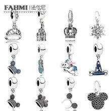 FAHMI 100% 925 Silver Fashion Pendant Crown Castle Snowflake Snow Ballet  Shoes Pig Magic Hat Pendant DIY Necklace Gift 65bf09305980