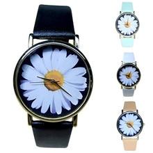 simple women watch famous brands fashion Women Faux Leather Analog Quartz Wrist Watch Chrysanthemum #2814