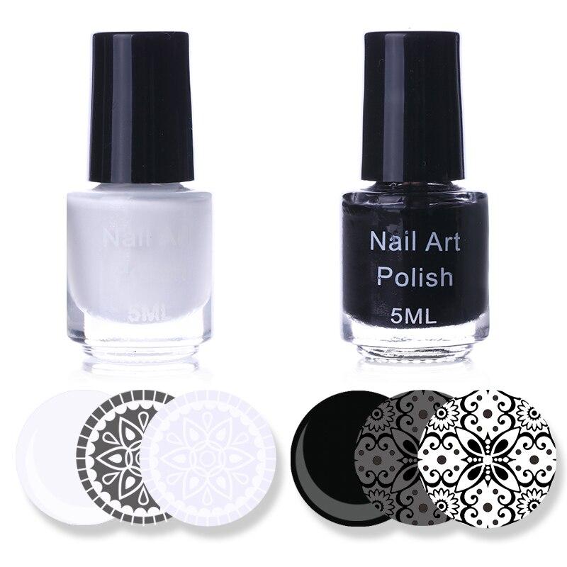 White Black Color Nail Art Stamping Polish Set 5ml Nail Varnish ...