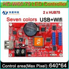 HD W60 75 rgb conduziu o controlador de exibição, cartão de controle do módulo do sinal do diodo emissor de luz da cor completa, u disco e controle sem fio de wifi