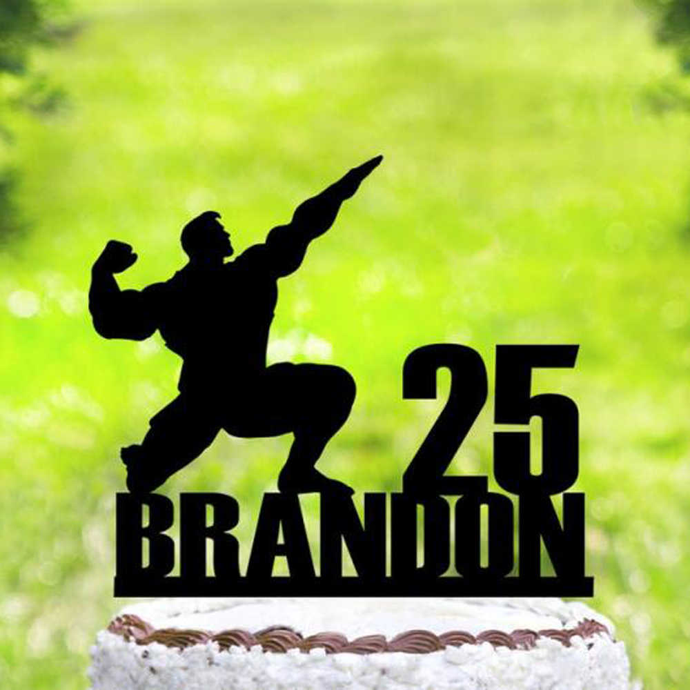 Admirable Custom Name And Age Muscle Man Happy Birthday Cake Topper Sports Personalised Birthday Cards Xaembasilily Jamesorg